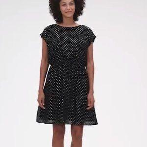 NWT Gap Metallic Clip Dot Skater Dress SP Blac D59